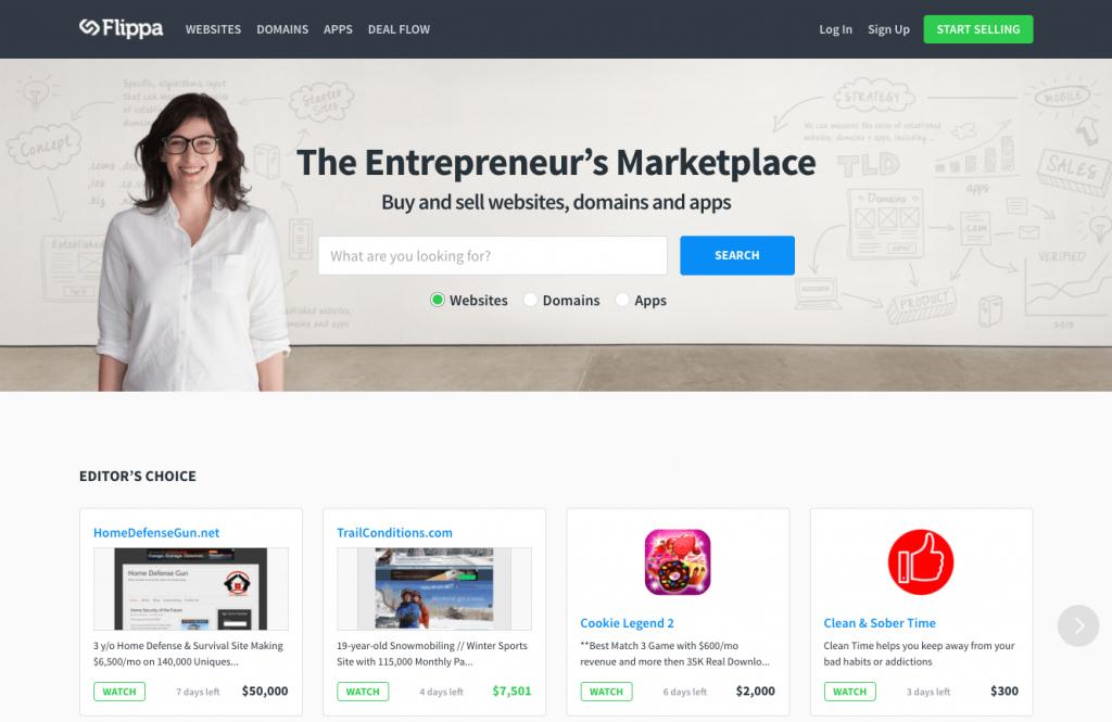 flippa.com Home Page