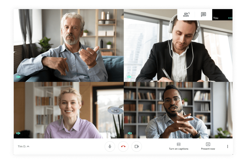 Face to face video call using Google Workspace and Google Meets