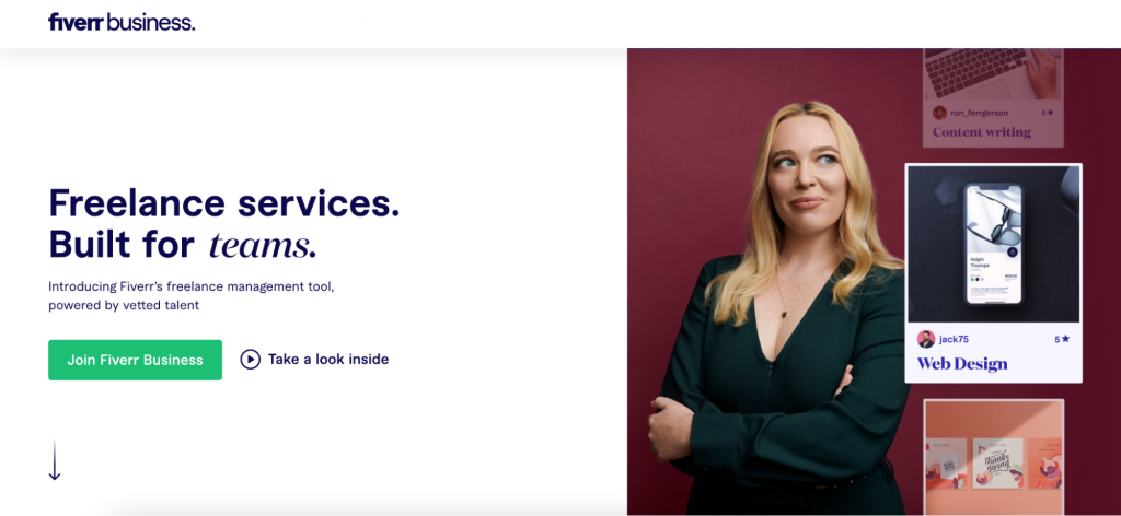 Fiverr Business landing page