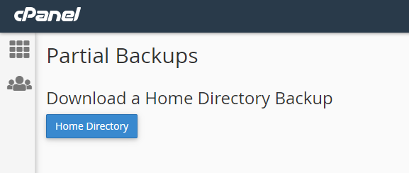 This image shows you cPanel home directory backups