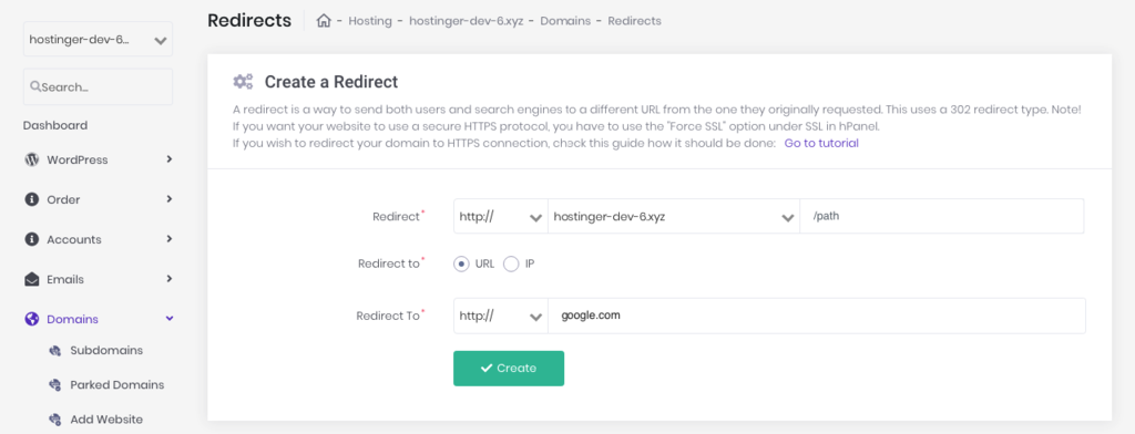 Creating a new redirect in hPanel
