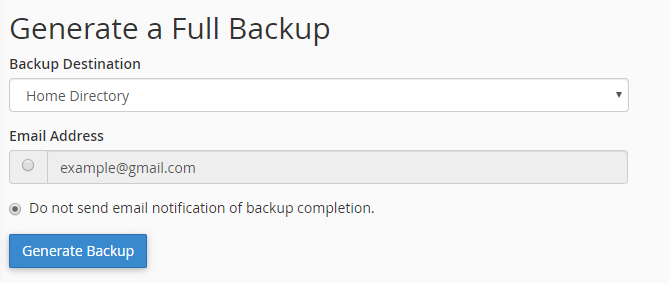 This image shows you the cPanel full backup options