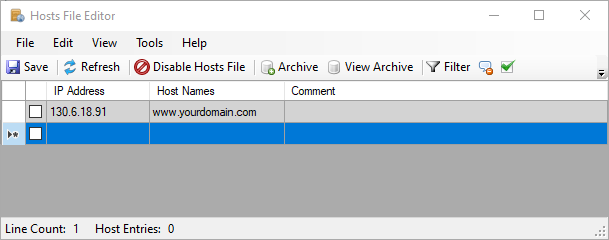 adding domains on the Hosts File Editor