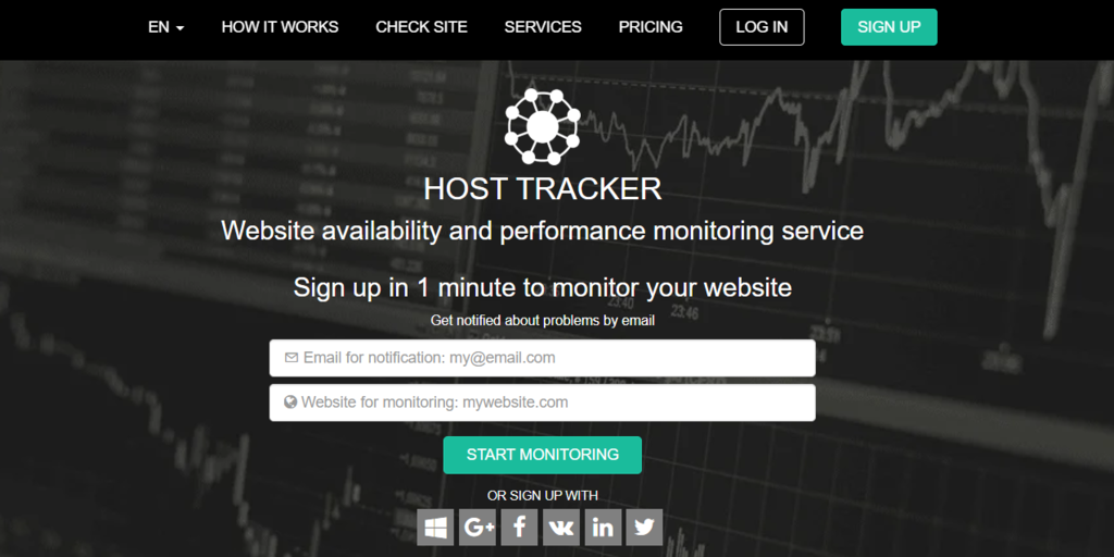 Host Tracker landing page