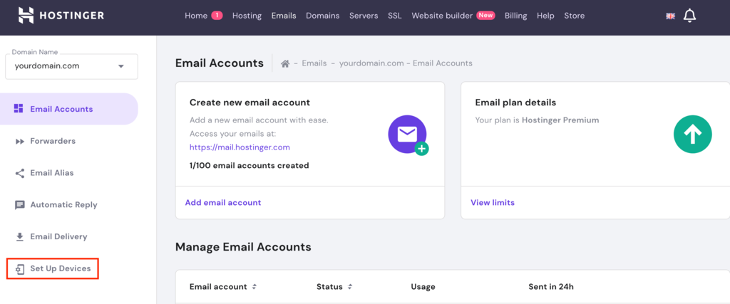 Email accounts section, highlighting the Set Up Devices button.