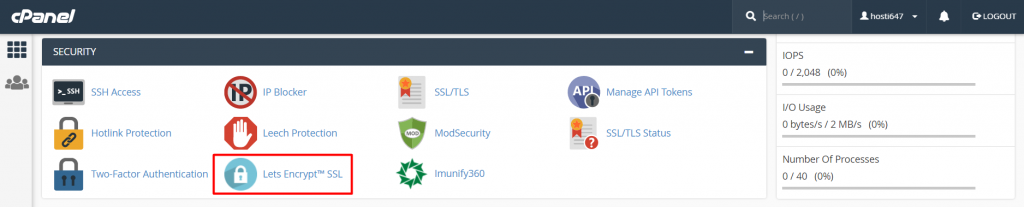 Let's Encrypt icon in cPanel's Security section