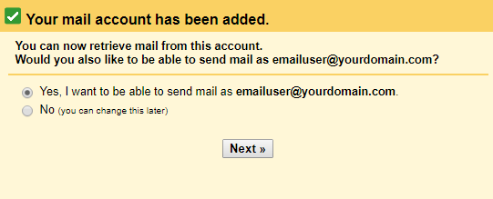 This is the message prompt that will allow you to set up gmail to send emails from your custom domain.