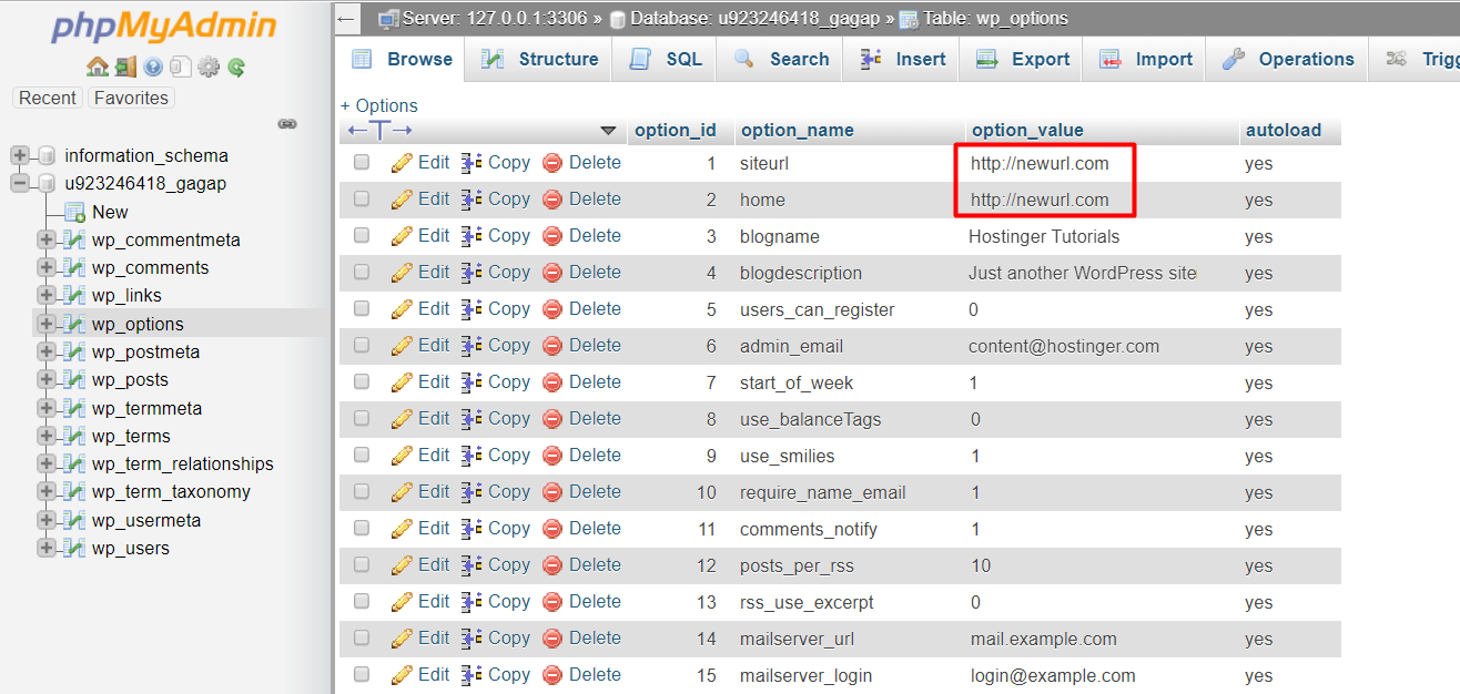 The new URLs in wp_options table