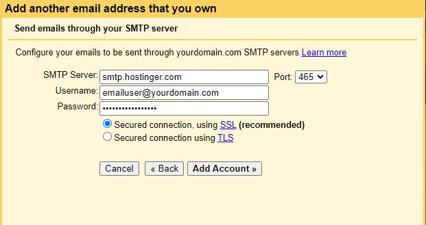 Configuring Gmail to send emails as a custom domain.