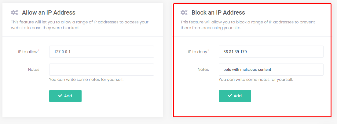 Blocking an IP address using the IP Manager tool in hPanel