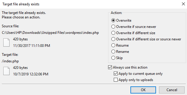 this image shows you how to overwrite files quickly via an FTP client