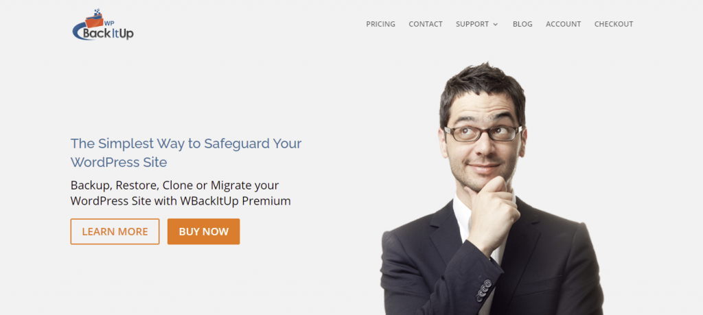 """WPBackItUp plugin homepage - """"The Simplest Way to Safeguard Your WordPress Site"""""""