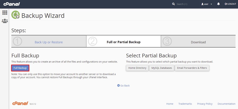 Select full backup