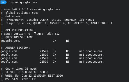 check name servers trên Linux.