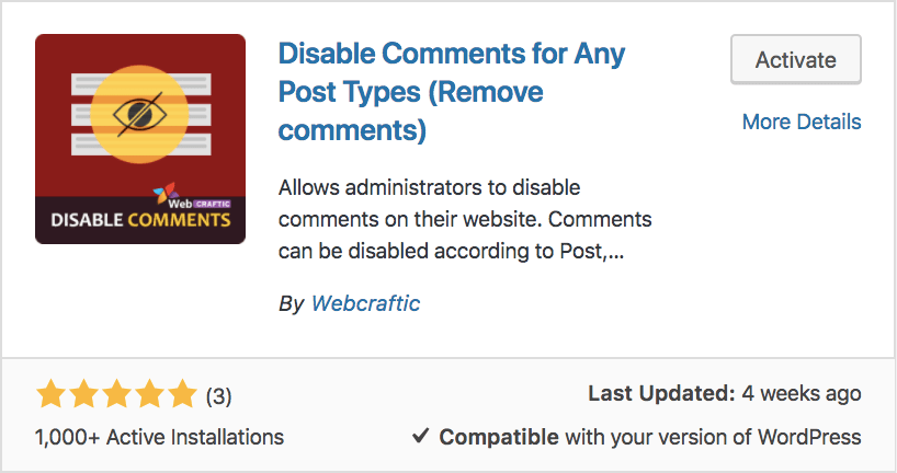 Disable Comments For Any Post Type plugin in WordPress
