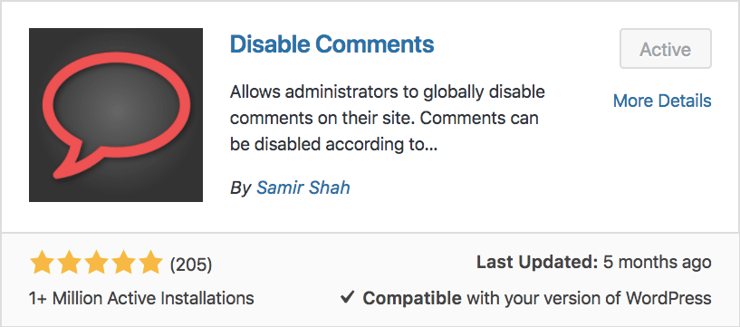 Disable Comments plugin in WordPress