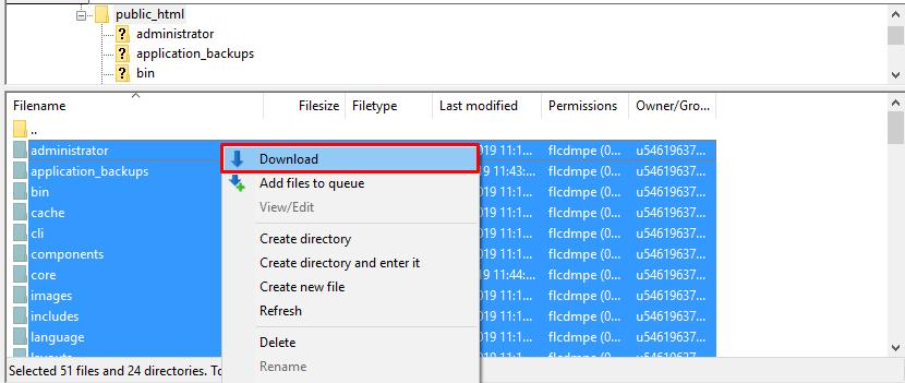 Download WordPress files using FileZilla