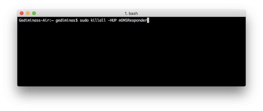 Flush DNS pada OS Mac X El Capitan menggunakan Terminal