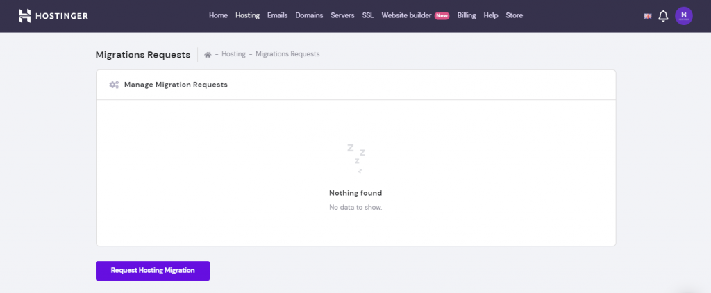 Screenshot of Hostinger's migration request functionality you can use for seamless migration