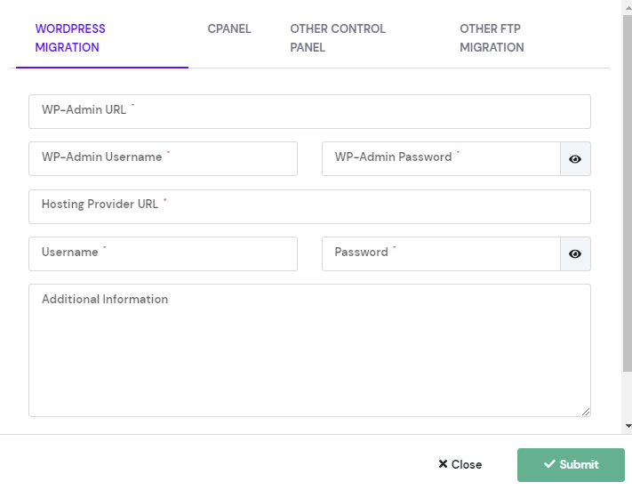 Details you need to fill out for a migration request