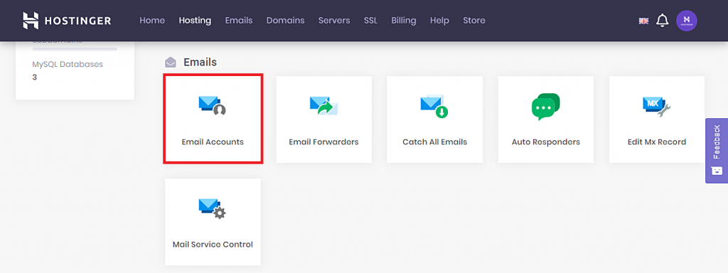 This image shows you where to locate the Email Accounts section in Hostinger's hPanel.