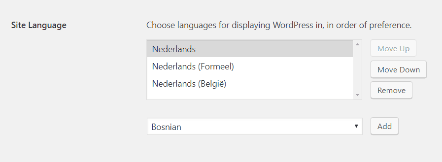 Language Preference List