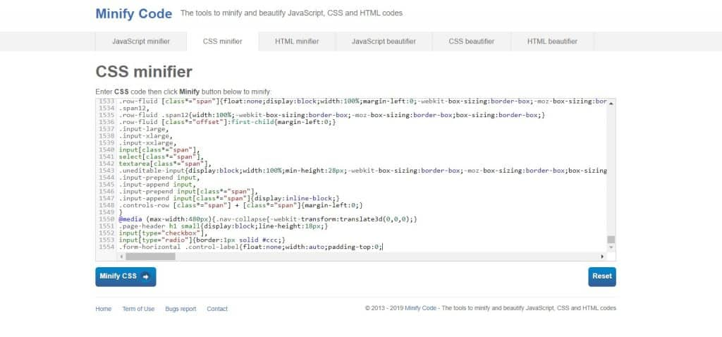 Live examples of Minify Code