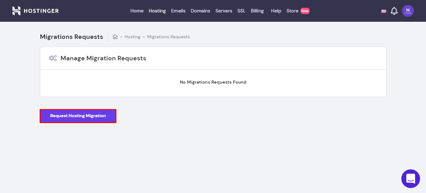 Hostingers manage migrations request page