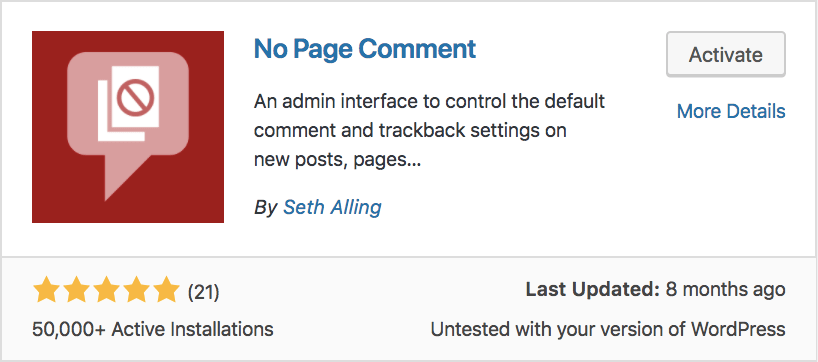 No Page Comment plugin in WordPress