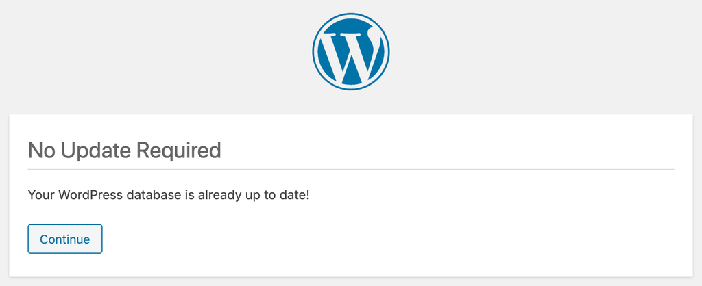 A window showing that WordPress database is up to date.