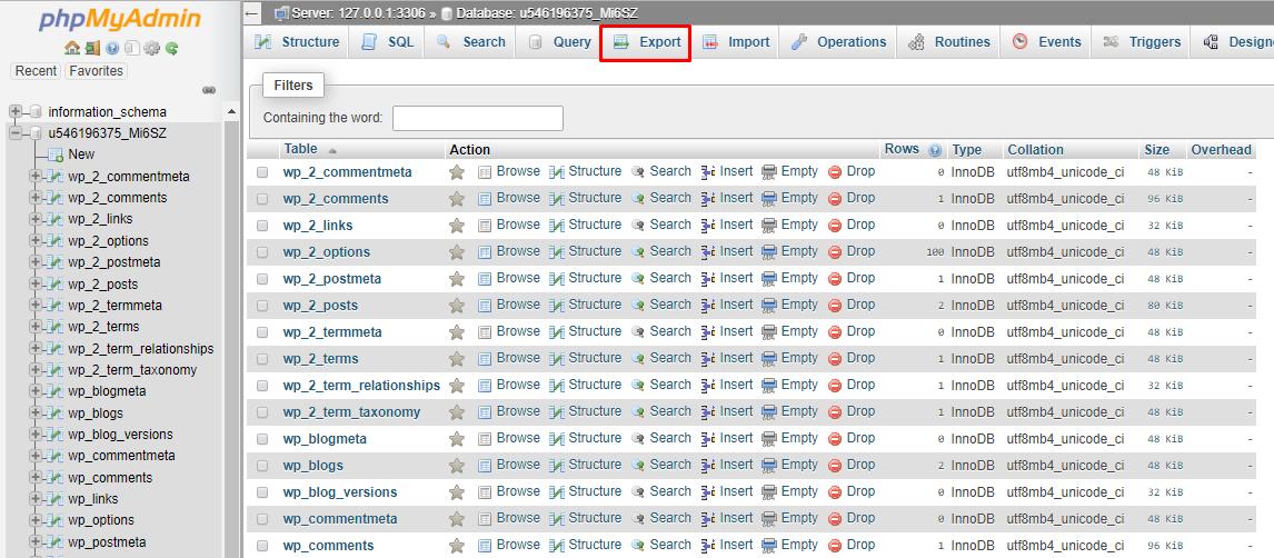 Create website backup in phpMyAdmin