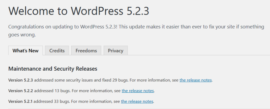 this image shows you what you'll see after you update your WordPress to the latest major update