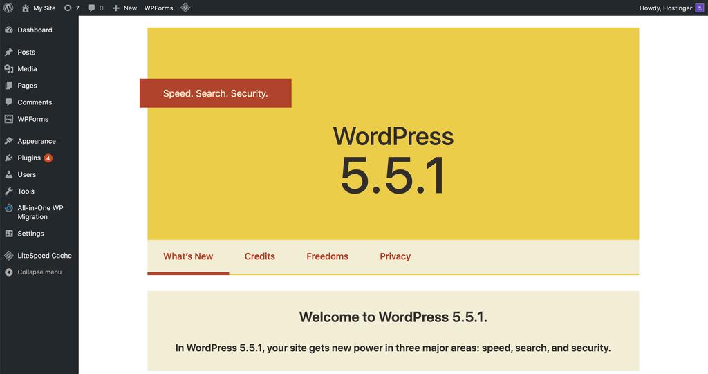 WordPress welcome screen shown after a major update.