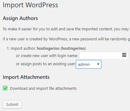 wordpress-importer-author-settings