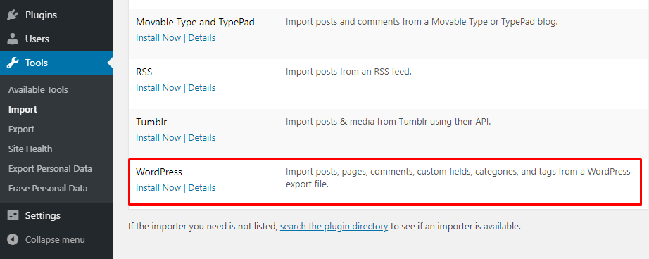 Importing WordPress.com files to WordPress.org