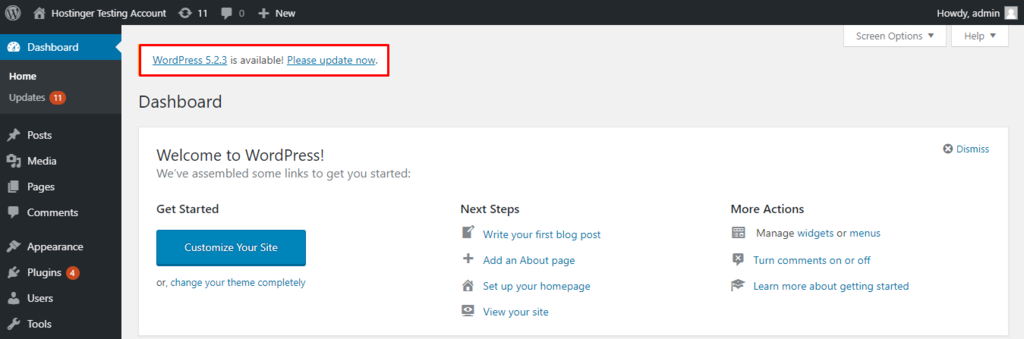 This image shows you the WordPress update notification on the dashboard
