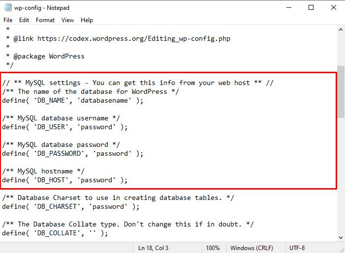 Change your database details