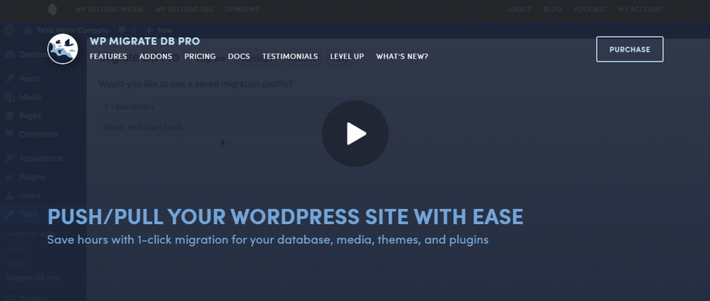 """WP Migrate DB Pro plugin - """"Pull/push your WordPress site with easy"""""""