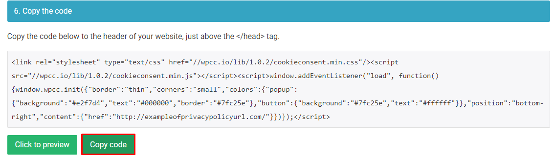 Copying the WordPress cookie notice code in WebsitePolicies