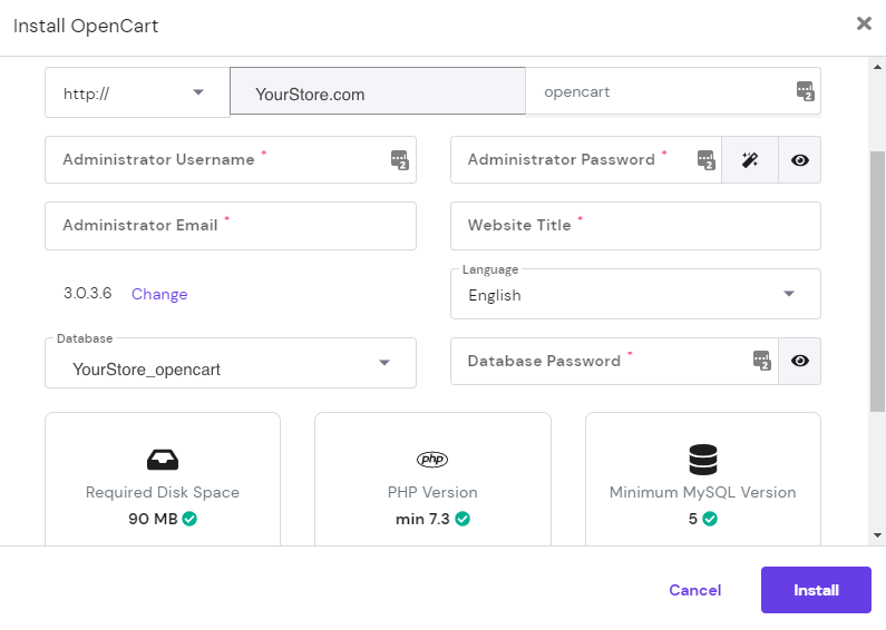 Screenshot showing how to install OpenCart on hPanel