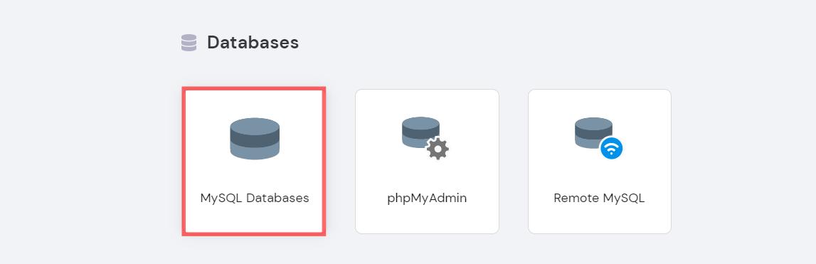 Screenshot showing MySql option in hPanel