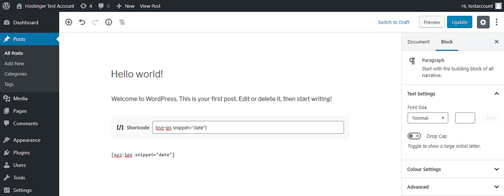This image shows you how to add PHP code in WordPress post using the shortcode and code block in Gutenberg editor.