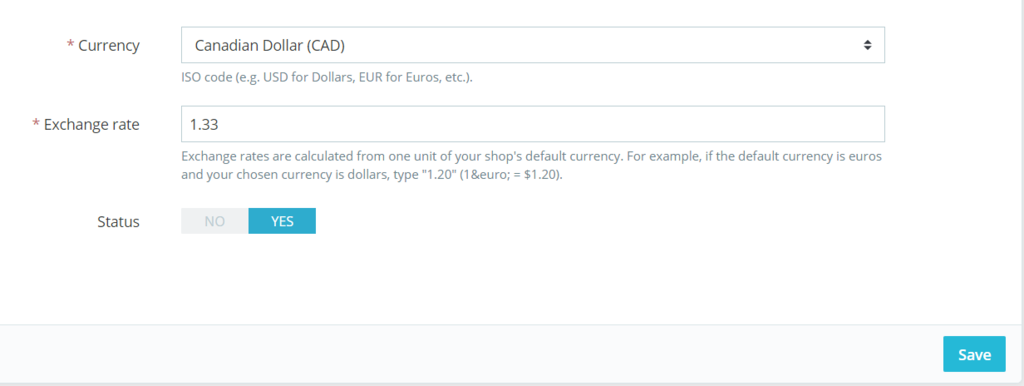 The interface to set s currency and exchange rate.