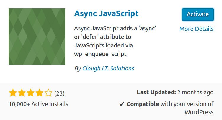Async JavaScript plugin activation