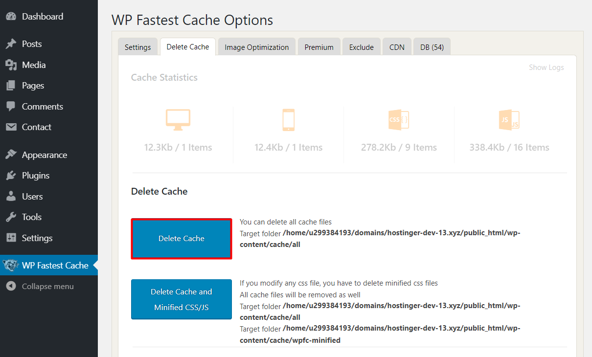 clear cache on wordpress fastest cache plugin