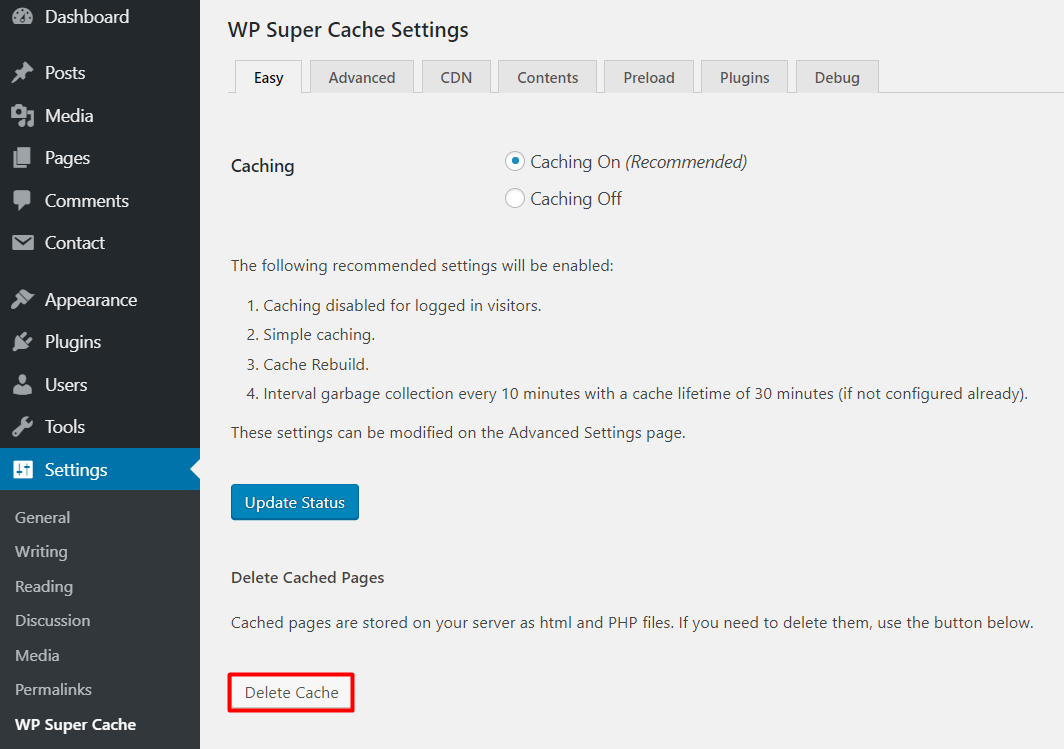 clear cache on wordpress super cache plugin