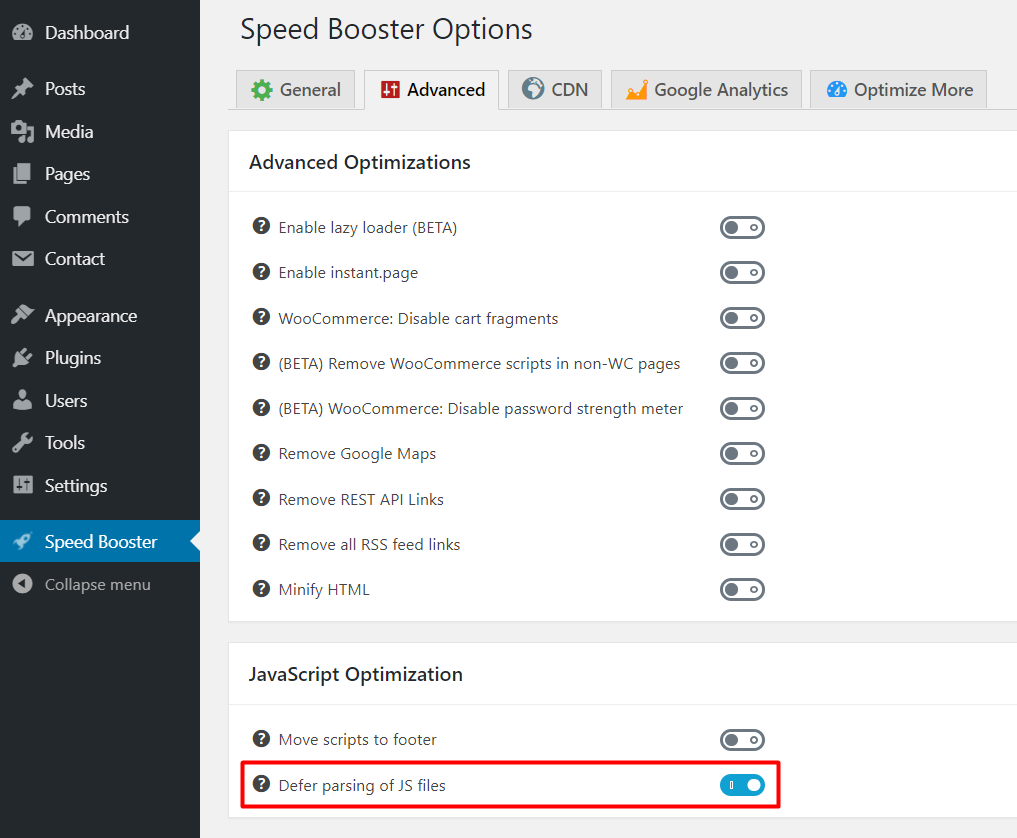 defer parsing of wordpress javascript using speed booster pack plugin