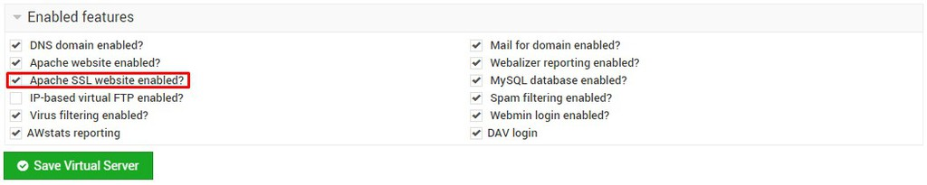How to enable SSL on VPS Webmin