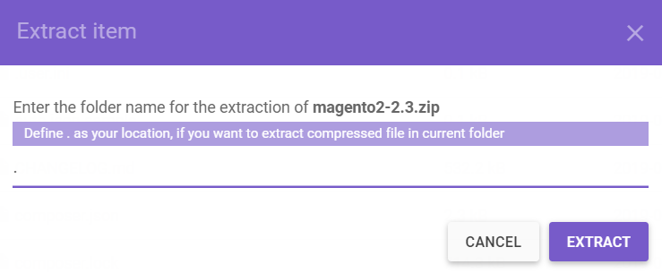 extract magento compressed file trong file manager