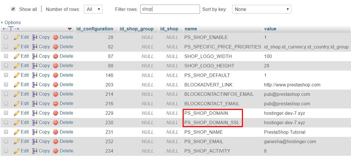 The PS_SHOP_DOMAIN and PS_SHOP_DOMAIN_SSL records.